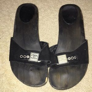 Chanel black clog authentic sandals